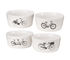 Bikes Bowl - / Set of 4 - Porcelain by Pols Potten