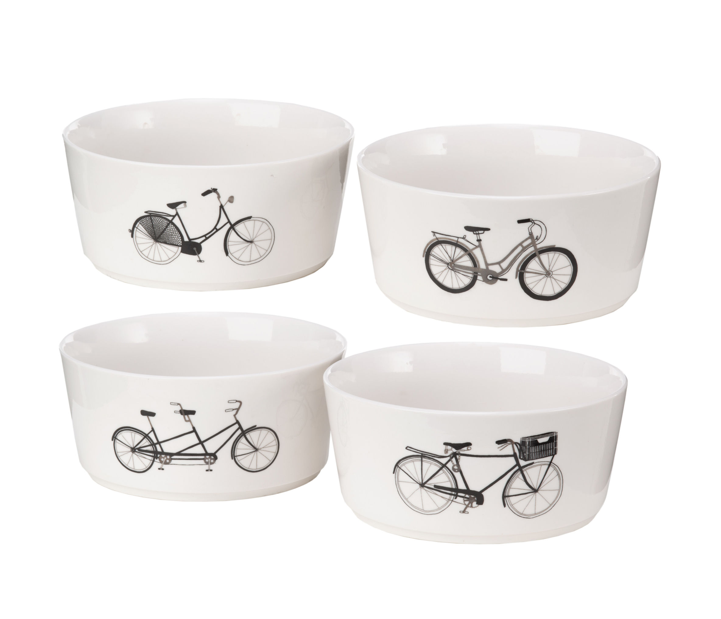 Tableware - Bowls - Bikes Bowl - / Set of 4 - Porcelain by Pols Potten - Black, white & silver - Porcelaine vitrifiée