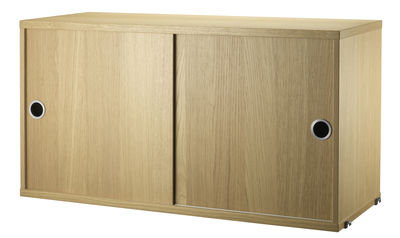 Mobilier - Etagères & bibliothèques - Caisson String System / 2 portes coulissantes - L 78 x P 30 cm - String Furniture - Chêne - Acier inoxydable, Contreplaqué de chêne