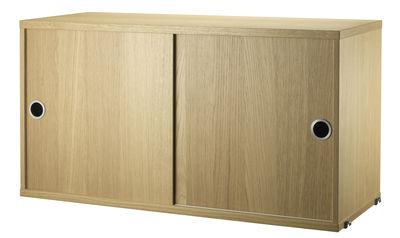 Caisson String System / 2 portes coulissantes - L 78 x P 30 cm - String Furniture chêne en bois