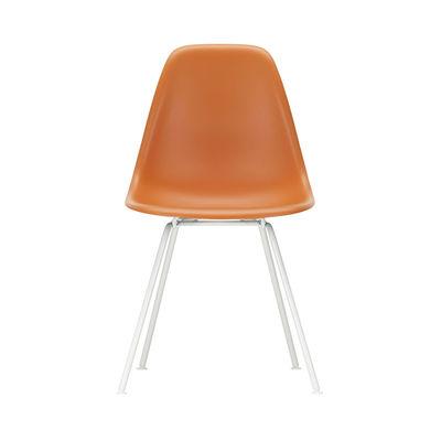 Mobilier - Chaises, fauteuils de salle à manger - Chaise DSX - Eames Plastic Side Chair / (1950) - Pieds blancs - Vitra - Orange rouille / Pieds blancs - Acier laqué époxy, Polypropylène