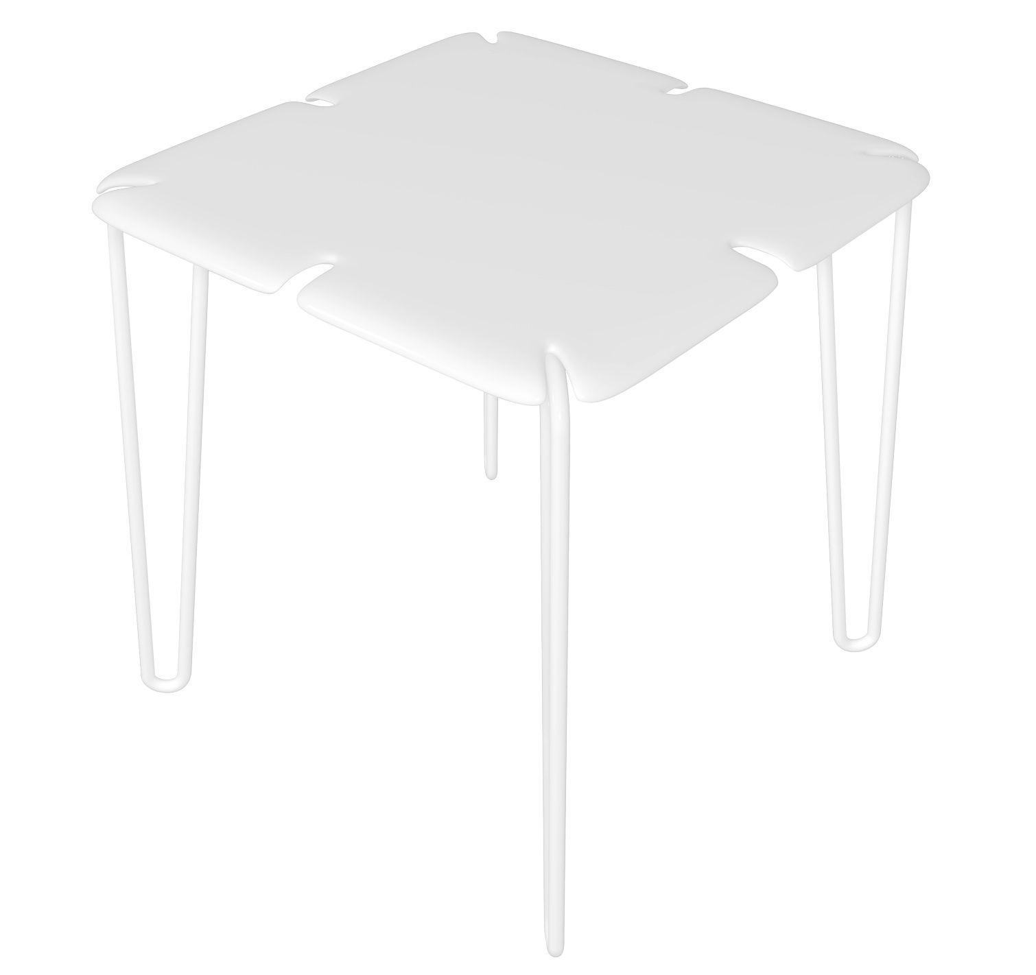 Jardin - Tables de jardin - Table carrée Chips / 78 x 78 cm - MyYour - Blanc - Corian - Acier inoxydable peint, Corian
