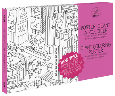Decoration - Children's Home Accessories - New York Colouring poster - / Giant - L 115 x 80 cm by OMY Design & Play - Black, White - Papier recyclé
