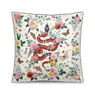 Decoration - Cushions & Poufs - Serpent Cushion - / Velvet - 45 x 45 cm by PÔDEVACHE - White - Polyester, Velvet