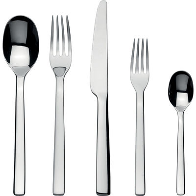 Tableware - Cutlery - Ovale Cutlery set - For 1 person by Alessi - 5 pieces - Mirror polished stainless steel - Steel