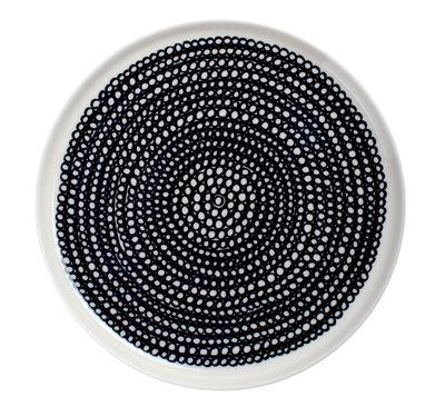Tableware - Plates - Siirtolapuutarha Dessert plate - Round Ø 20 cm by Marimekko - Siirtolapuutarha - White & black - Ø 20 cm - Enamelled china