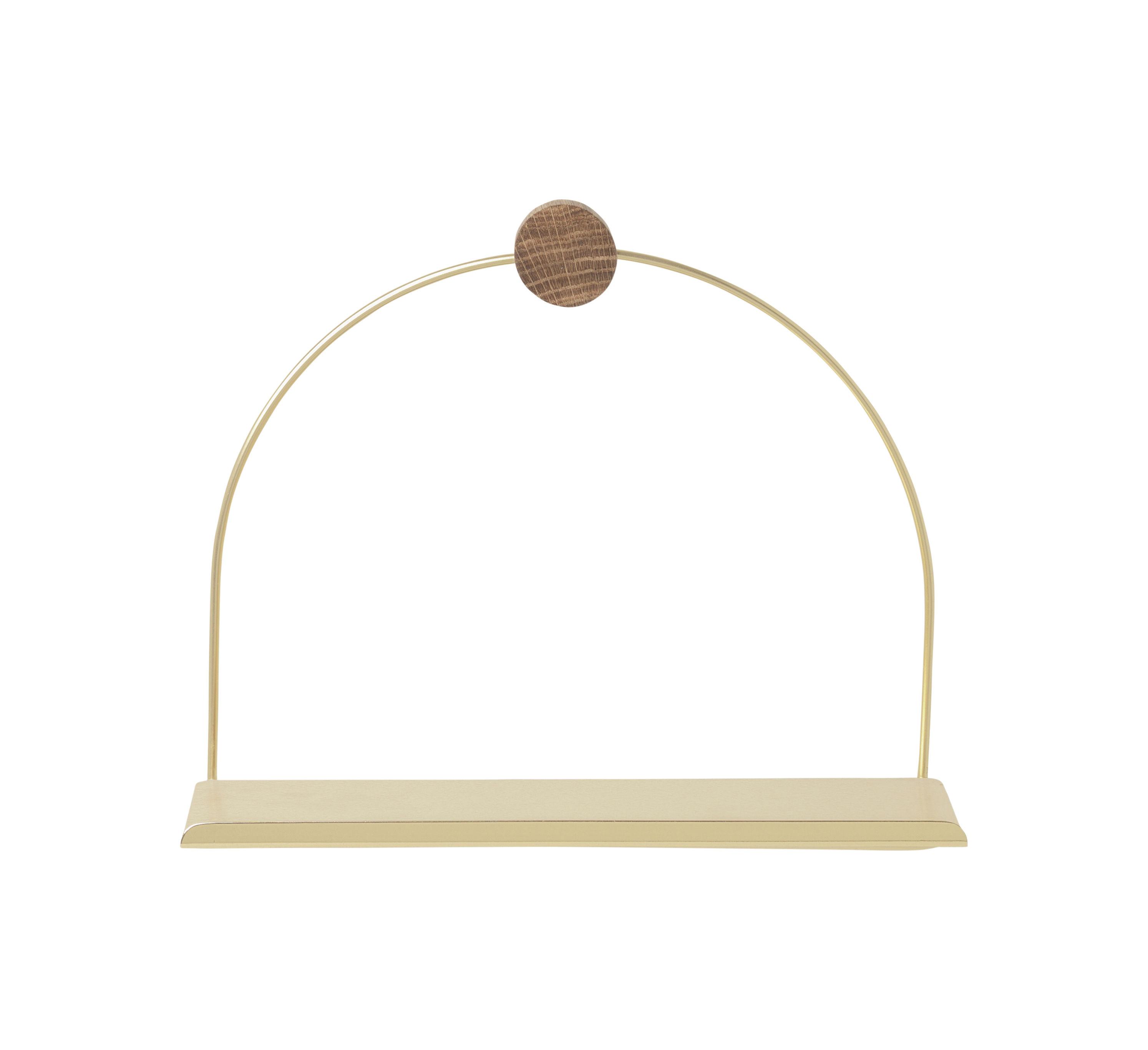 Mobilier - Etagères & bibliothèques - Etagère Brass / L 26 x H 21 cm - Ferm Living - Laiton / Bois naturel - Chêne, Laiton