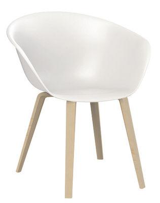 Mobilier - Chaises, fauteuils de salle à manger - Fauteuil Duna 02 / Pieds bois - Arper - Blanc / Pieds chêne blanchi - Chêne blanchi, Polypropylène