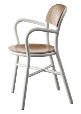 Mobilier - Chaises, fauteuils de salle à manger - Fauteuil empilable Pipe / Bois & métal - Magis - Blanc / Hêtre naturel - Aluminium verni, Multiplis de hêtre