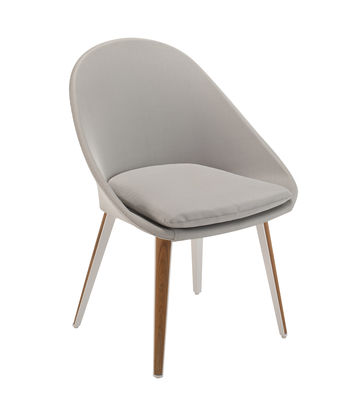 Möbel - Stühle  - Vanity Gepolsterter Sessel / Textil & Teakholz - Vlaemynck - Grau / weiß & Teak - lackiertes Aluminium, Polyurethan-Schaum, Sling-Gewebe, Teakholz