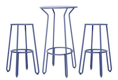 Furniture - Bar Stools - Huggy High table - / + 2 bar stools - H 75cm by Maiori - Blue dawn - Lacquered aluminium