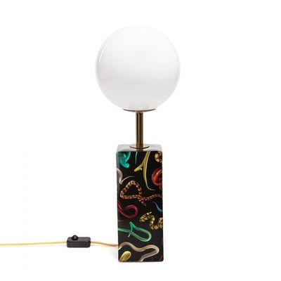Lampe de table Toiletpaper - Snakes / Porcelaine & verre - H 70 cm - Seletti blanc,noir,or en verre