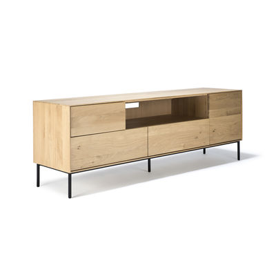 Mobilier - Commodes, buffets & armoires - Meuble TV Whitebird / Chêne massif - L 180 cm - Ethnicraft - Chêne & noir - Chêne massif, Métal verni