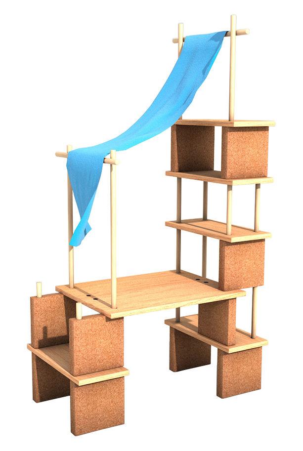 Arredamento - Scaffali e librerie - Mobile in evoluzione Play Yet 2! - / Per bambini - Set 39 pezzi di Smarin - Legno naturale / Tessuto blu - Faggio naturale, Rovere naturale, Sughero, Tessuto