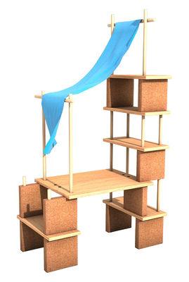 Mobilier - Etagères & bibliothèques - Mobilier évolutif Play Yet 2! / Pour enfant - Set 39 pièces - Smarin - Bois naturel / Tissu bleu - Chêne naturel, Hêtre naturel, Liège, Tissu