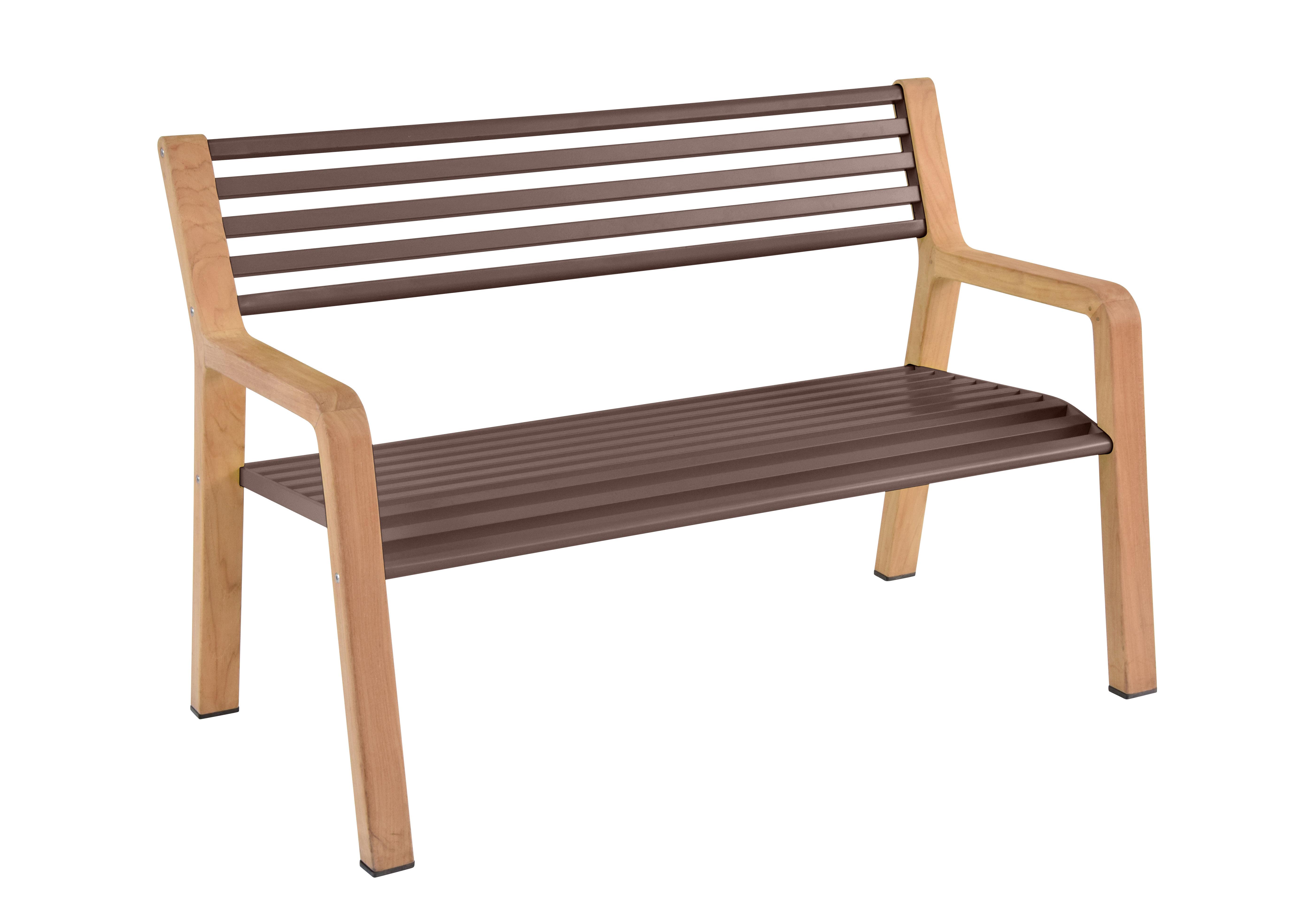 Arredamento - Panchine - Panca con schienale Somerset - / Legno & Metallo - L 122 cm di Fermob - Ruggine/ Legno - alluminio verniciato, Teak oliato