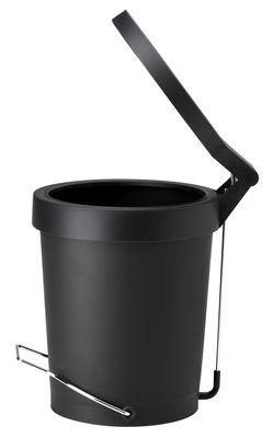 Interni - Bagno  - Pattumiera a pedale Tip - 7 litri di Authentics - Nero - Gomma, metallo laccato, Polipropilene