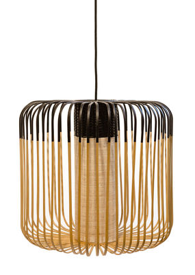 Lighting - Pendant Lighting - Bamboo Light M Outdoor Pendant - H 40 x Ø 45 cm by Forestier - Black / Natural - Natural bamboo, Rubber