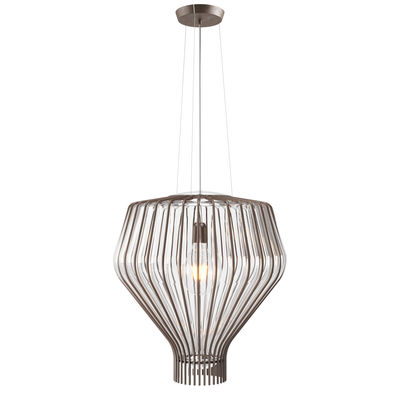 Lighting - Pendant Lighting - Saya Pendant - / Ø 48 x H 51 cm - / Glass & metal by Fabbian - Transparent / Brown metal structure - Blown glass, Metal