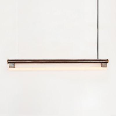 Leuchten - Pendelleuchten - Eiffel Pendelleuchte / L 100 cm - Frama  - Stahl in Antikoptik - Gewachster Rohstahl, Opalglas