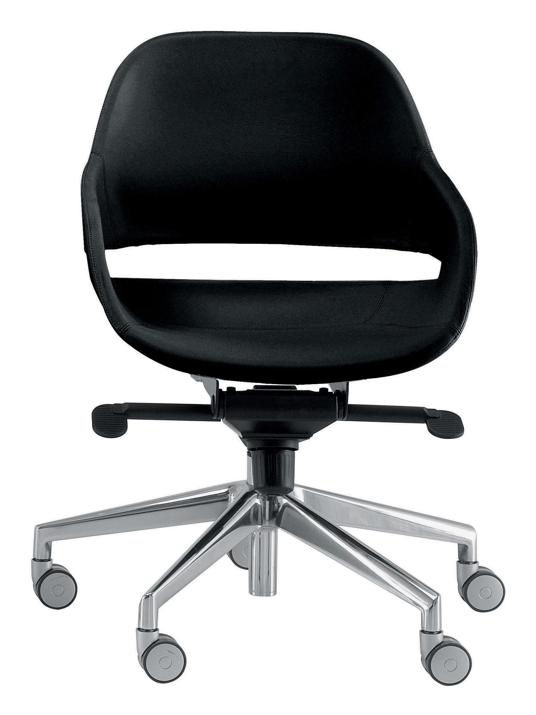Arredamento - Mobili Ados  - Poltrona a rotelle Eva di Zanotta - Piede alluminio lucido / Guscio nero - Alluminio lucido, Poliuretano