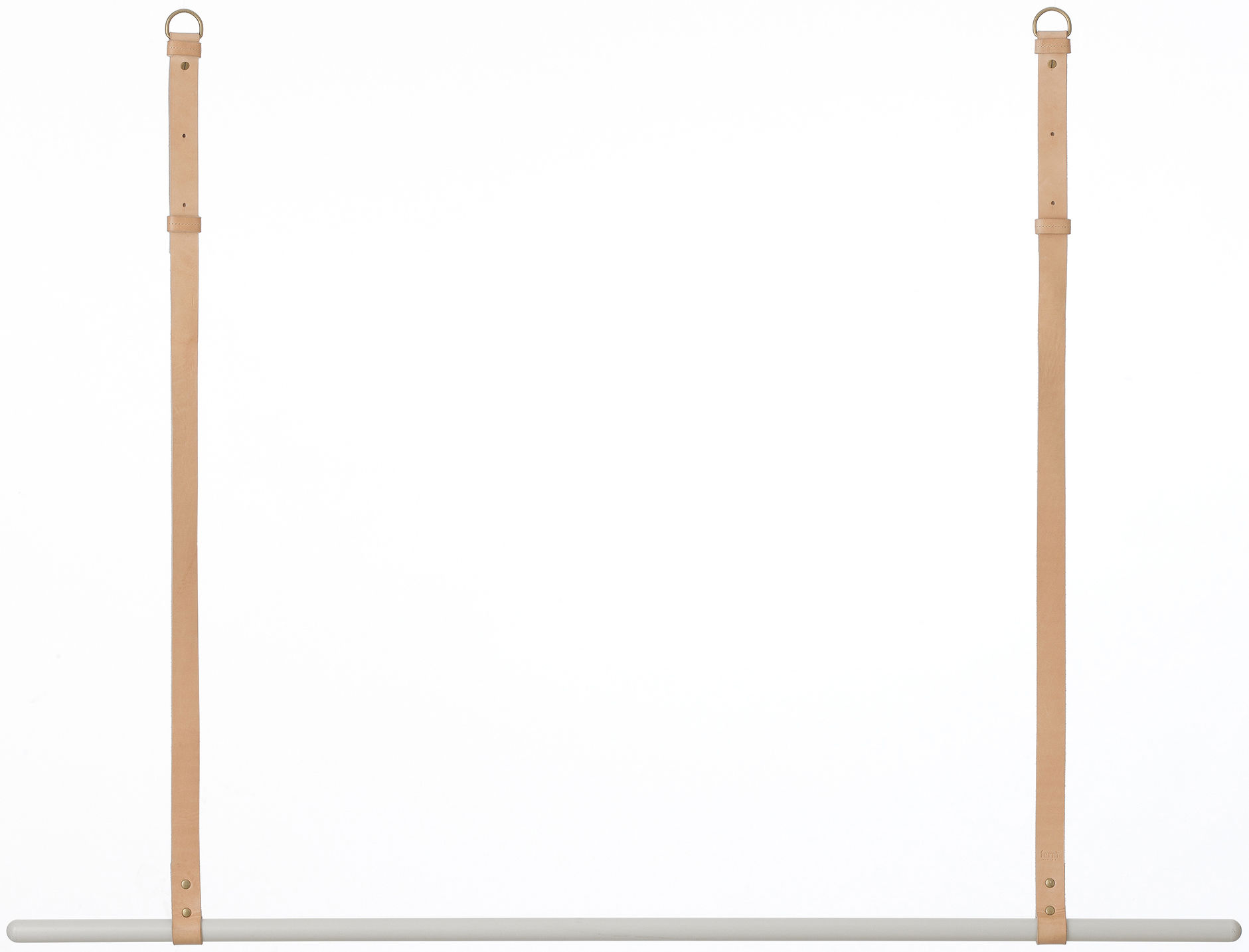 Mobilier - Portemanteaux, patères & portants - Portant Clothes Rack / A suspendre - L 135 cm - Ferm Living - Barre grise / Lanières cuir beige - Cuir, Métal laqué