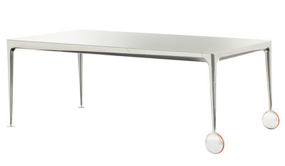 Furniture - Dining Tables - Big Will Rectangular table - 280 x 120 cm by Magis - White top / Polished alu legs - Polished cast aluminium, Rubber, Soak glass