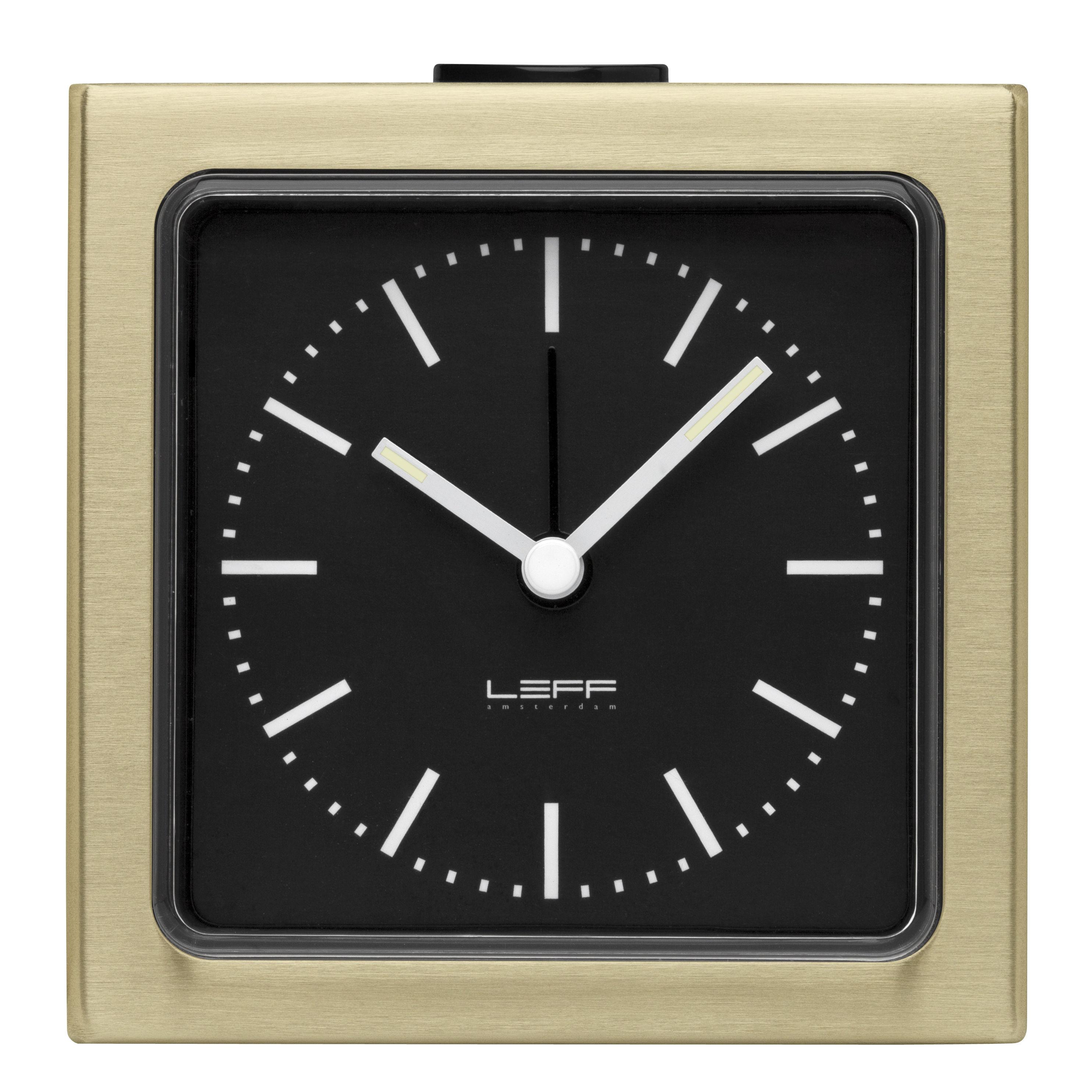 Accessoires - Réveils et radios - Réveil Block / H 8,5 cm - LEFF amsterdam - Cadre laiton / Fond noir - ABS, Acier inoxydable, PMMA