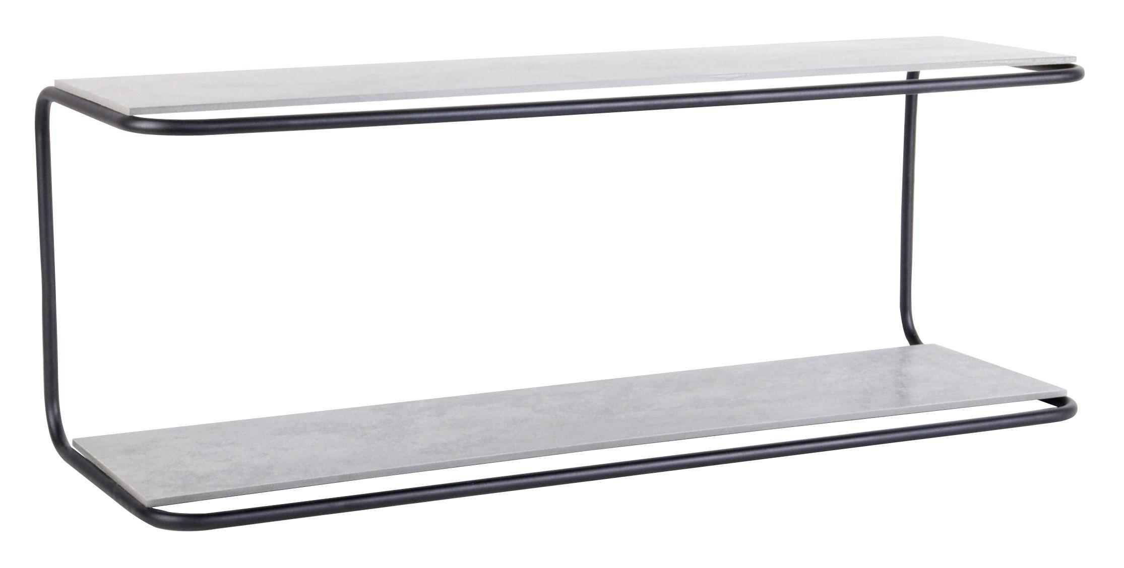 Arredamento - Scaffali e librerie - Mensola Yoso / Cemento - L 110 cm - XL Boom - Nero / Cemento grigio - Acier laqué époxy, Fibre-ciment