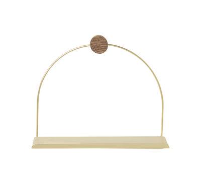 Furniture - Bookcases & Bookshelves - Brass Shelf - / L 26 x H 21 cm by Ferm Living - Brass / Natural wood - Brass, Oak