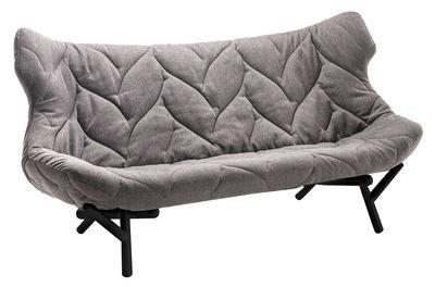 Möbel - Sofas - Foliage Sofa / L 175 cm - Kartell - Grau / Fußgestell schwarz - Gewebe, Metall, Polyurethan-Schaum