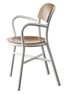 Furniture - Chairs - Pipe Stackable armchair - Wood & metal by Magis - White / Natural beech - Beechwood plywood, Varnished aluminium