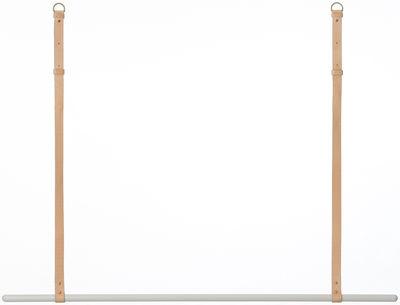 Arredamento - Appendiabiti  - Supporto Clothes Rack - / Da sospendere - L 135 cm di Ferm Living - Barra grigia / Cinghie di cuoio beige - metallo laccato, Pelle