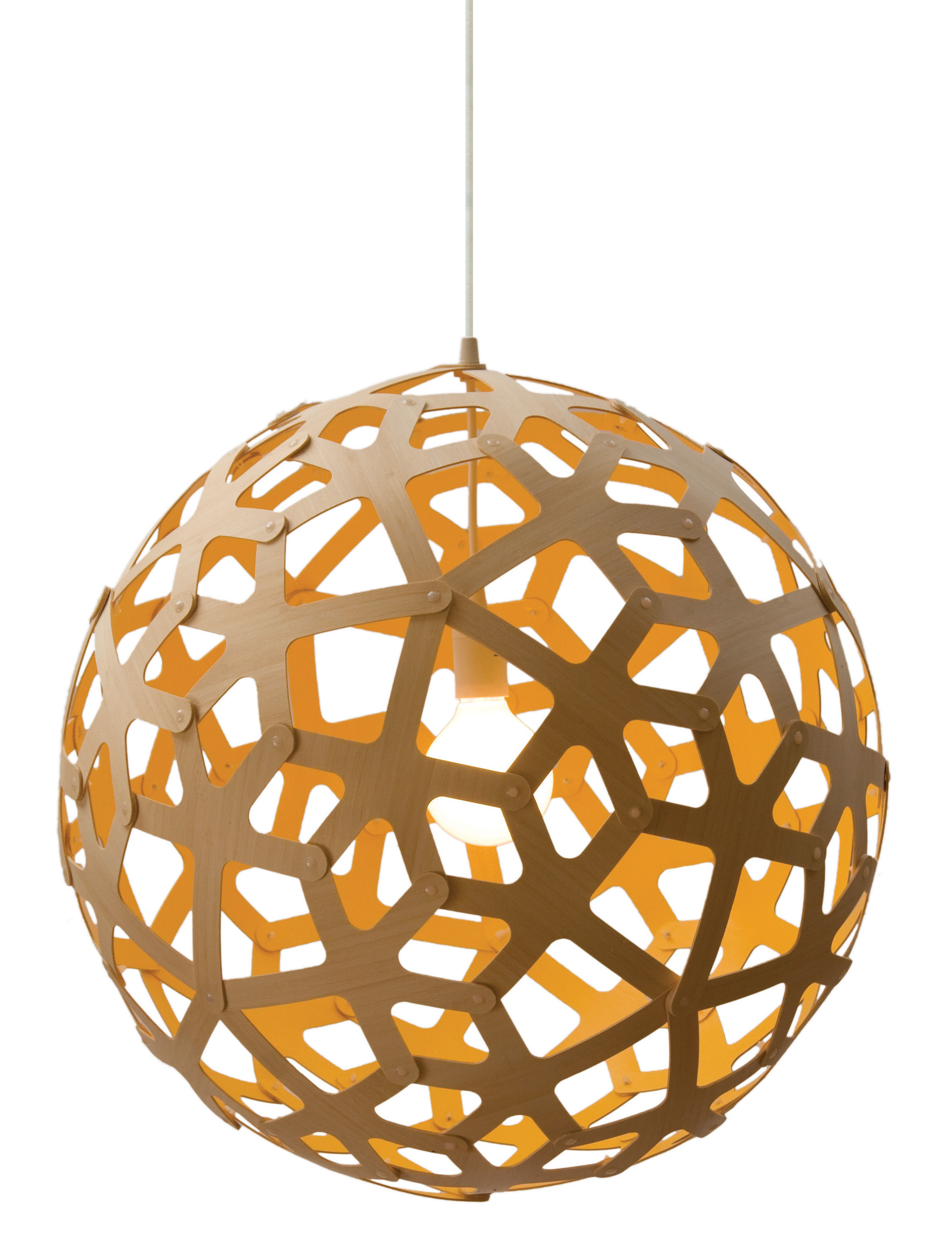 Luminaire - Suspensions - Suspension Coral / Ø 60 cm - Bicolore jaune & bois - David Trubridge - Jaune / Bois naturel - Pin