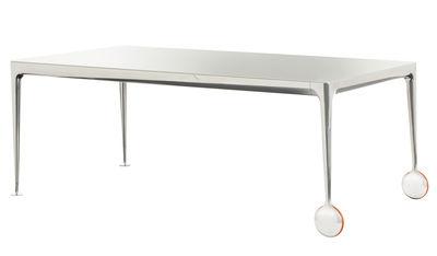 Mobilier - Tables - Table Big Will / 280 x 120 cm - Magis - Plateau blanc translucide / Pieds alu poli - Caoutchouc, Fonte d'aluminium poli, Verre trempé