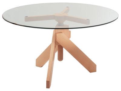 Table à hauteur réglable Vidun / Ø 130 cm - De Padova hêtre naturel en verre