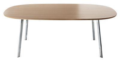 Mobilier - Tables - Table carrée Déjà-vu / 124 x 124 cm - Magis - Plateau chêne / Pieds chromés - Aluminium poli, MDF plaqué chêne