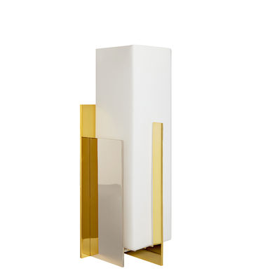 Lighting - Table Lamps - Berlin Torchière Table lamp - / Brass, glass & steel by Jonathan Adler - Gold & white - Nickel, Polished brass, Stainless steel, Verre émaillé blanc