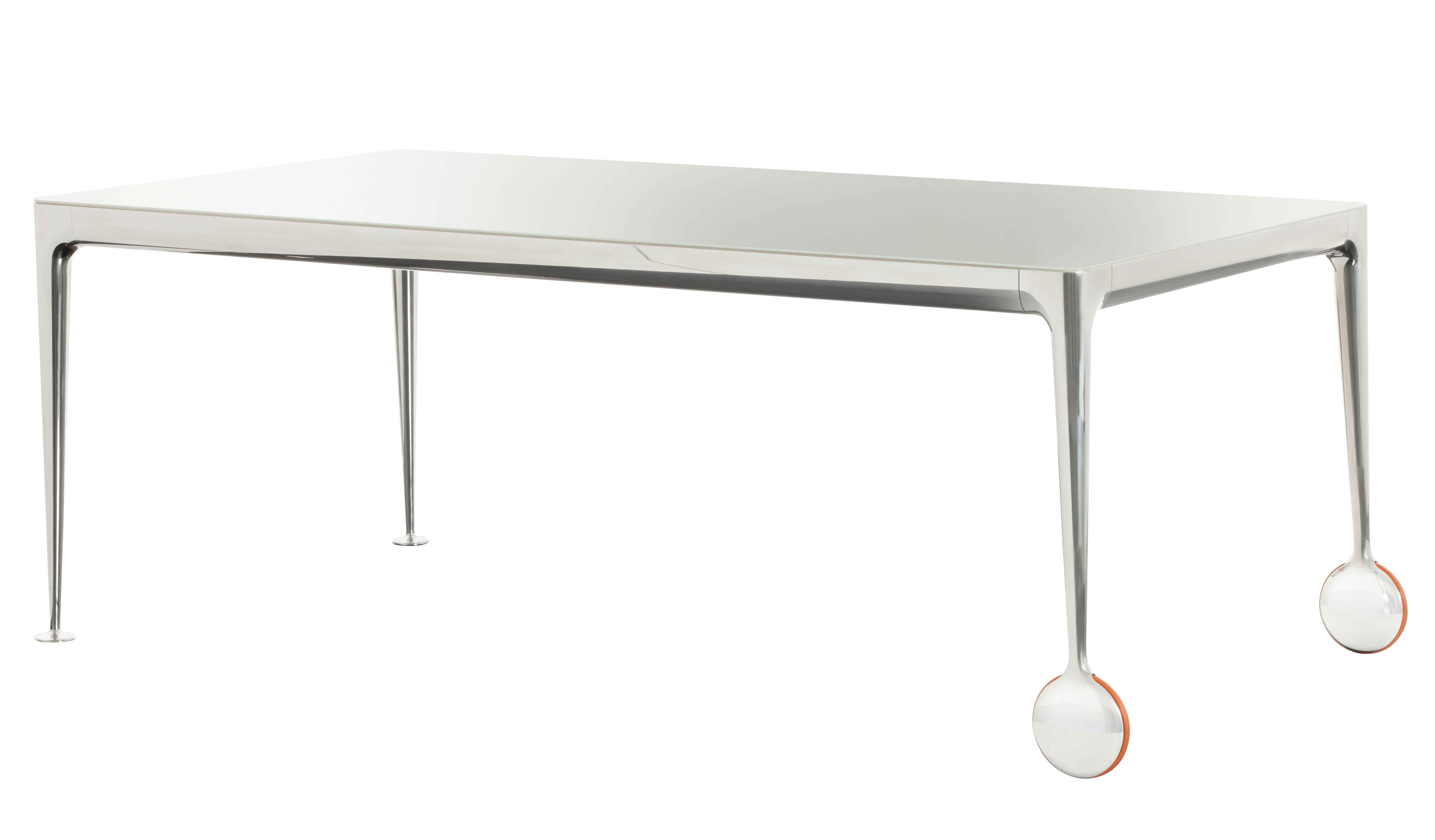 Mobilier - Tables - Table rectangulaire Big Will / 280 x 120 cm - Magis - Plateau blanc translucide / Pieds alu poli - Caoutchouc, Fonte d'aluminium poli, Verre trempé