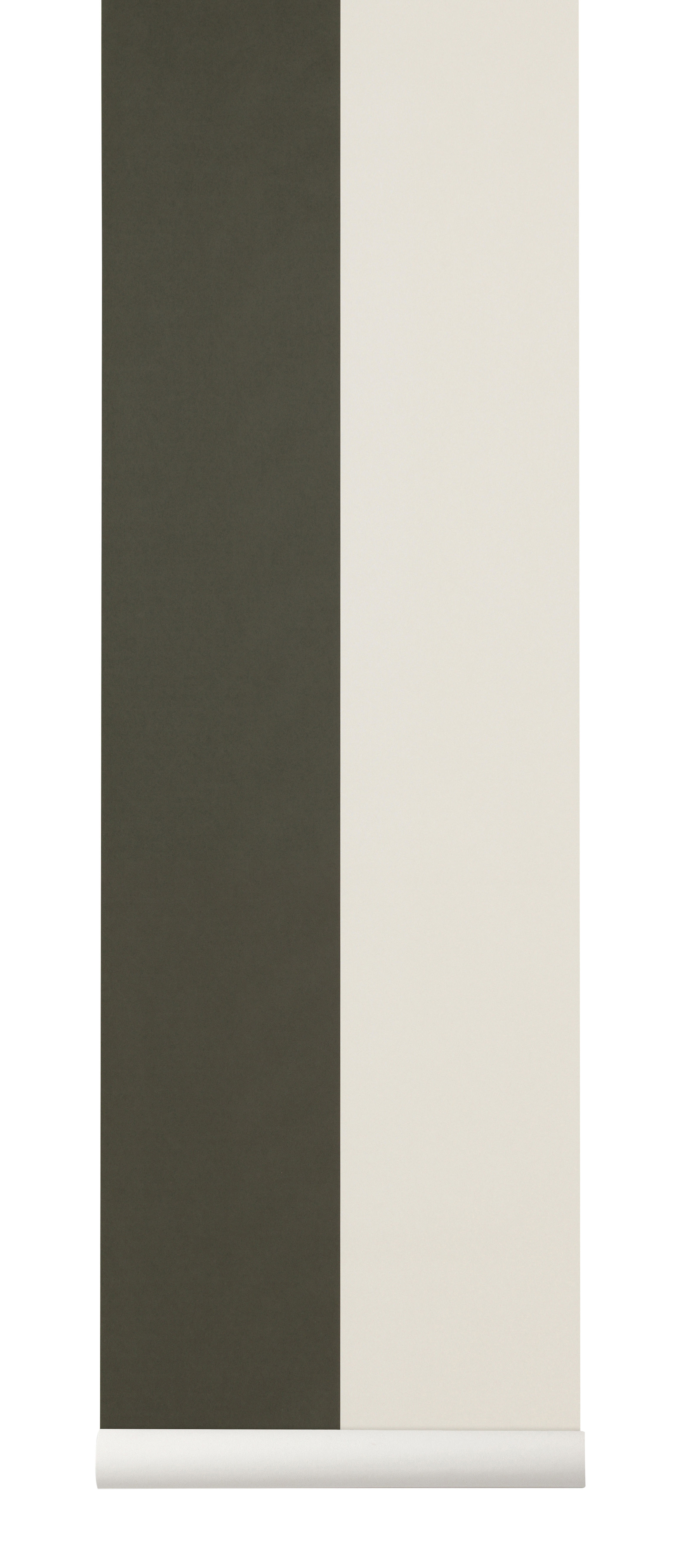 Decoration - Wallpaper & Wall Stickers - Thick Lines Wallpaper - / 1 roll - Width 53 cm by Ferm Living - Green & beige - Non-woven fabric