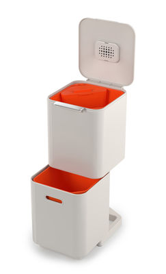 Kitchenware - Bins - Totem Compact 40L Waste bin - / 2 20L bins + 1 3L organic waste bin by Joseph Joseph - Stone - Plastic, Powder coated steel