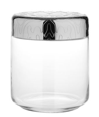 Kitchenware - Kitchen Storage Jars - Dressed Airtight jar - H 12 cm - 75 cl by Alessi - Transparent / Steel - Glass, Stainless steel