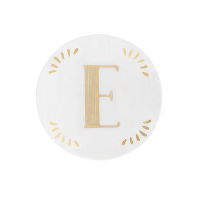Arts de la table - Assiettes - Assiette à mignardises Lettering / Ø 12 cm - Lettre E - Bitossi Home - Lettre E / Or - Porcelaine