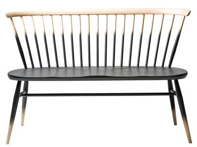 Mobilier - Bancs - Banc avec dossier Love Seat / L 117 cm - Réédition 1955 - Ercol - Dégradé noir / Bois - Hêtre massif, Orme massif