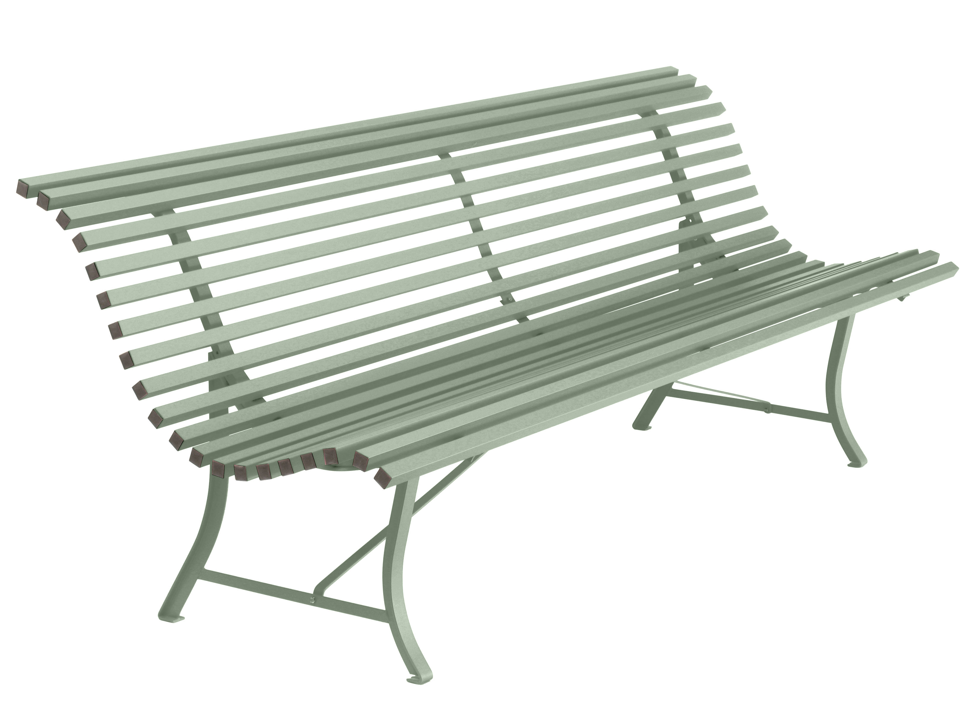 Outdoor - Benches - Louisiane Bench with backrest - / L 200 cm - Metal by Fermob - Cactus - Electro-galvanized steel