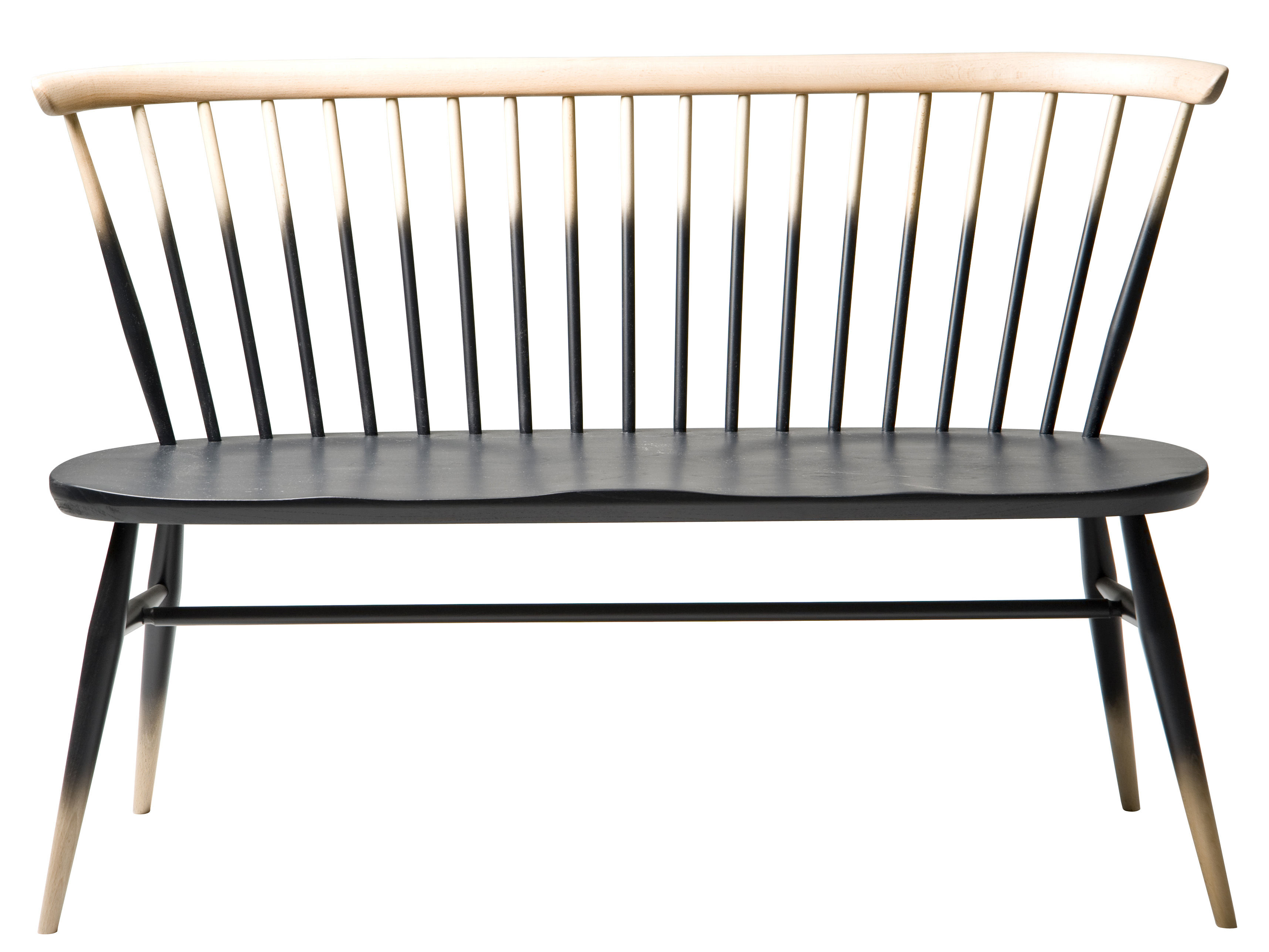 Furniture - Benches - Love Seat Bench with backrest - 117 cm - 1955 Reissue by Ercol - Half black / Wood - Natural beechwood, Solid elm