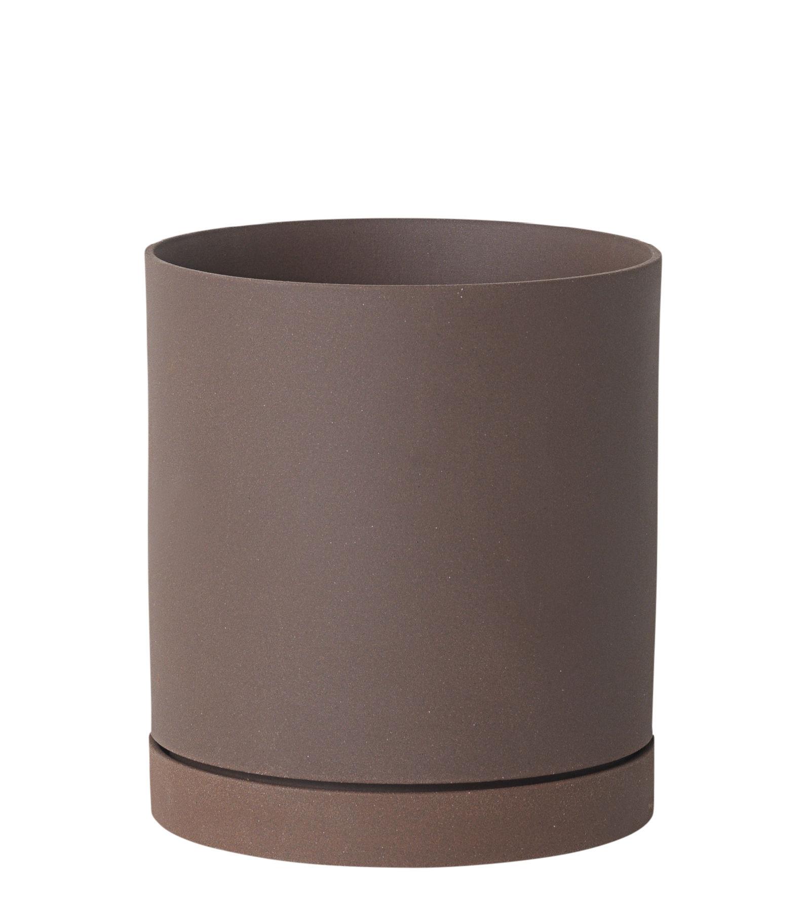 Outdoor - Töpfe und Pflanzen - Sekki Large Blumentopf / Ø 15,7 cm x H 17,7 cm - Steinzeug - Ferm Living - Rost - Sandstein
