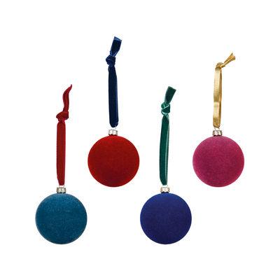 Boule de Noël Velours / Set de 4 - Rondes - & klevering multicolore en tissu
