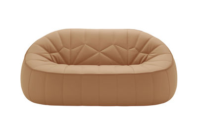 Canapé droit Ottoman Similicuir L 165 cm Cinna ocre en cuir