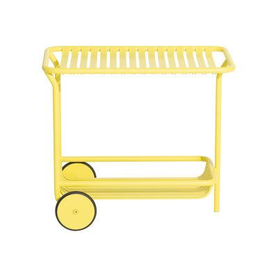 Arredamento - Complementi d'arredo - Carrello/tavolo d'appoggio Week-End - / Alluminio - Ruote di Petite Friture - Giallo chiaro - Alluminio termolaccato epossidico